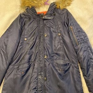 Forever 21 Oversized Puffer Jacket with Fur Hood